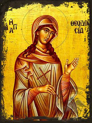 Saint Theodosia - Aged Byzantine Icon