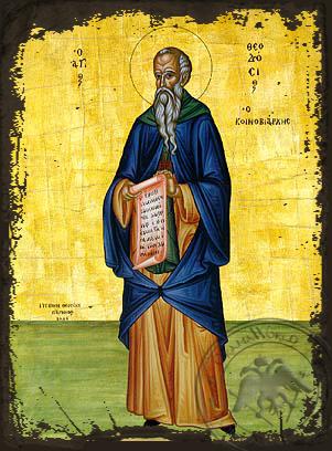 Saint Theodosius, the Cenobiarch, Full Body - Aged Byzantine Icon