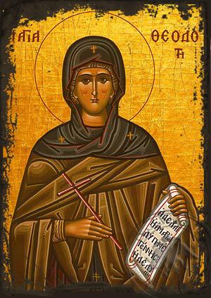 Saint Theodota, Martyr, in Ancyra - Aged Byzantine Icon