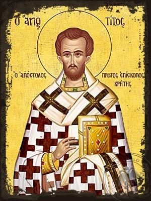 Saint Titus the Apostle Bishop of Crete Greece the Disciple of Saint Paul the Apostle - Aged Byzantine Icon
