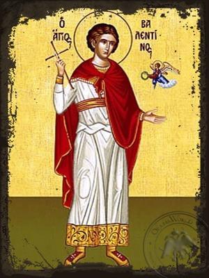 Saint Valentine the Priest-Martyr Full Body - Aged Byzantine Icon