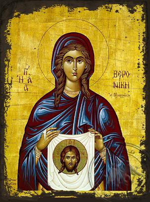 Saint Veronica - Aged Byzantine Icon