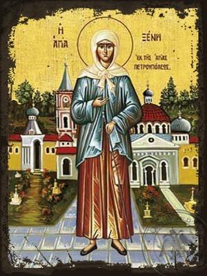 Saint Xenia of Saint Petersburg Fool For Christ Full Body - Aged Byzantine Icon