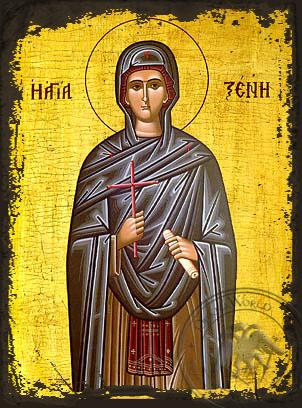 Saint Xene - Aged Byzantine Icon