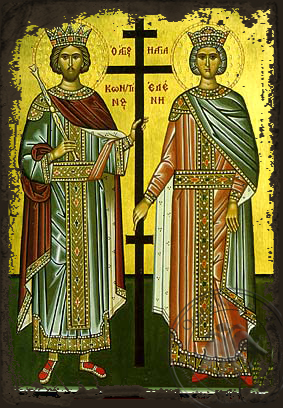 Saints Constantine and Helen, Full Body - Aged Byzantine Icon