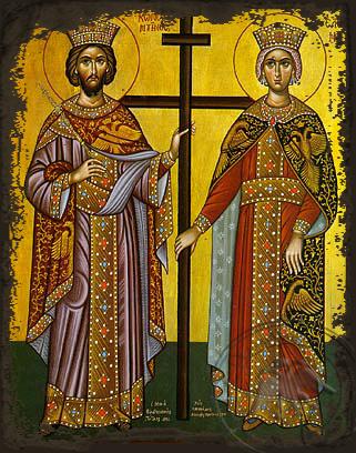 Saint Constantine and Helen - Aged Byzantine Icon