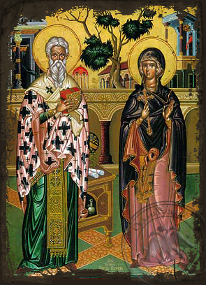 Saint Cyprian and Ioustine - Aged Byzantine Icon
