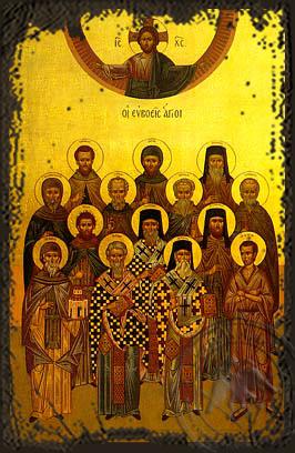 Saints from Euboea - Aged Byzantine Icon