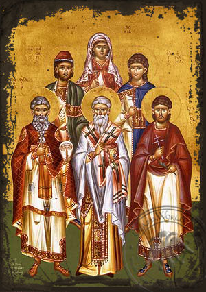 Saints Eustratius, Auxentius, Eugene, Mardarius, Orestes and Saint Lucy, Full Body  - Aged Byzantine Icon
