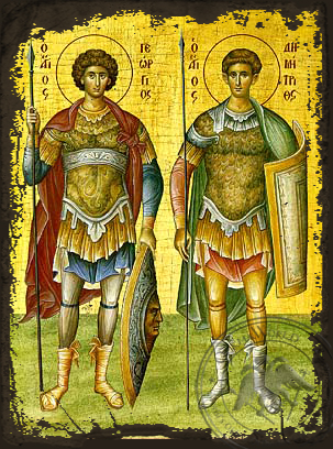 Saint George and Demetrios - Aged Byzantine Icon