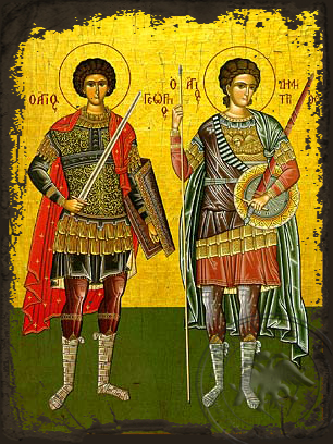 Saints George and Demetrius, Full Body - Aged Byzantine Icon