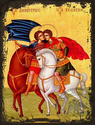 Saints George and Demetrius, on Horseback - Aged Byzantine Icon