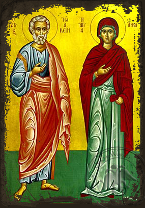 Saints Joachim and Anne, Righteous Ancestors of God, Full Body - Aged Byzantine Icon