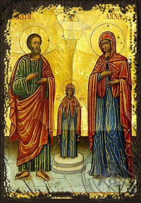 The Holy Forefathers Joachim and Anne - Aged Byzantine Icon