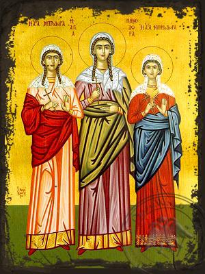 Saints Menodora, Metrodora and Nymphodora, at Nicomedia, Full Body - Aged Byzantine Icon