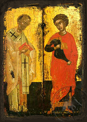 Saints Nicholas and George, Full Body - Aged Byzantine Icon