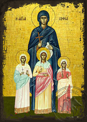 Saint Sophia and her Daughters - Aged Byzantine Icon