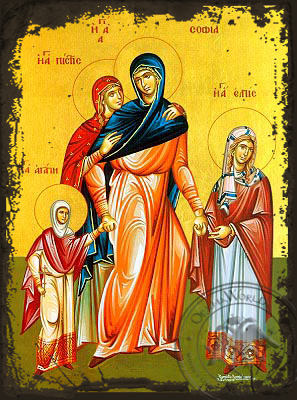 Saints Sophia and Daughters, Faith, Hope and Love, Full Body - Aged Byzantine Icon