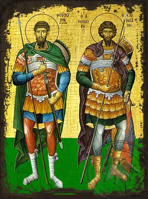 Saint Tiron & Sratilatis - Aged Byzantine Icon