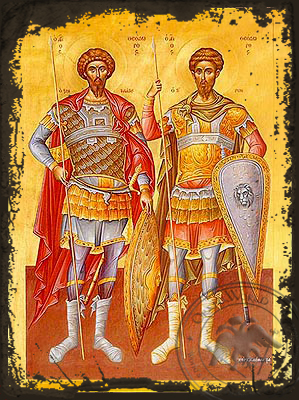 Saints Theodores the Great Martyrs, Tyro and Stratelates, Full Body - Aged Byzantine Icon