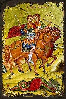 Saints Theodores Tiro and Stratelates - Aged Byzantine Icon