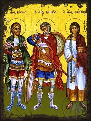 Saints Victor at Damascus Menas of Egypt and Vincent of Spain Full Body - Aged Byzantine Icon