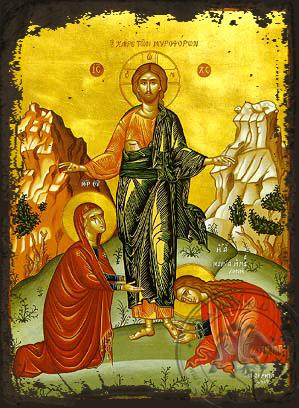 The Salutation to the Myrrh-Bearing Women - Aged Byzantine Icon