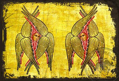 Six-Winged Seraphs - Aged Byzantine Icon