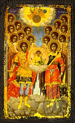 Synaxis of the Holy Archangels, Full Body - Aged Byzantine Icon