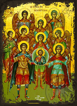 Synaxis of the Holy Archangels - Aged Byzantine Icon
