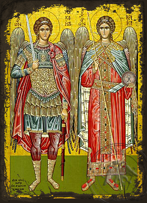 Synaxis of the Holy Archangels Michael and Gabriel, Full Body - Aged Byzantine Icon