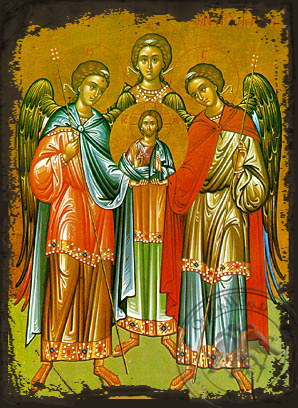 Synaxis of the Holy Archangels Michael, Gabriel and Raphael, Full Body - Aged Byzantine Icon