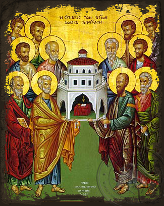Twelve Apostles - Aged Byzantine Icon