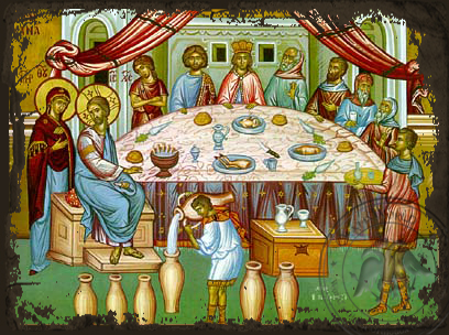 The Marriage Feast at Canaa - Aged Byzantine Icon