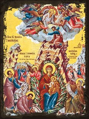 The Unburning Bush and Holy Prophet Moses - Aged Byzantine Icon