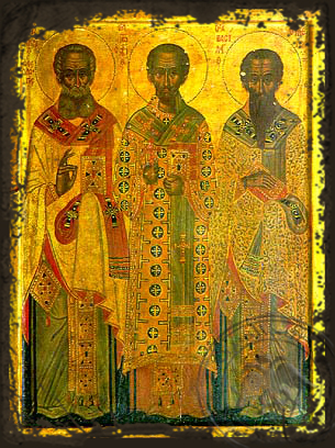 Three Holy Hierarchs, Saints Basil the Great, Gregory the Theologian, John the Chrysostom, Full Body - Aged Byzantine Icon