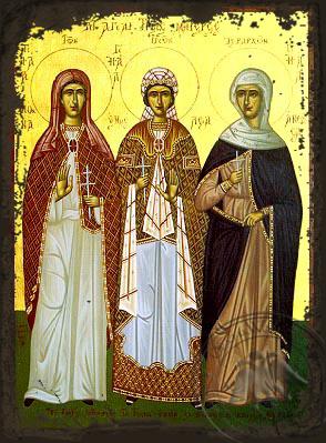 Nonna, Emmeleia and Athoussa - Aged Byzantine Icon