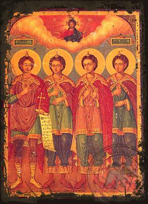 Ananias, Azarias, Misael & Daniel Prophet - Aged Byzantine Icon