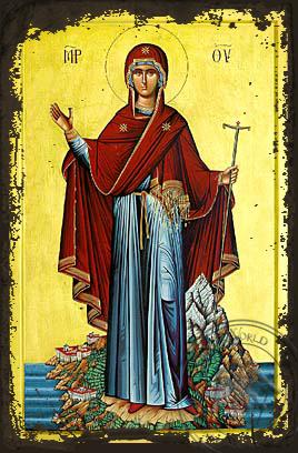 Panagia Prioress of Mount Athos - Aged Byzantine Icon