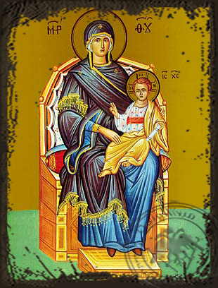 Virgin and Child, Enthroned - Aged Byzantine Icon