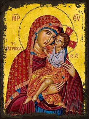 Virgin and Child Healer - Aged Byzantine Icon