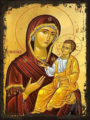 Virgin and Child Hodegetria Gregorousa - Aged Byzantine Icon