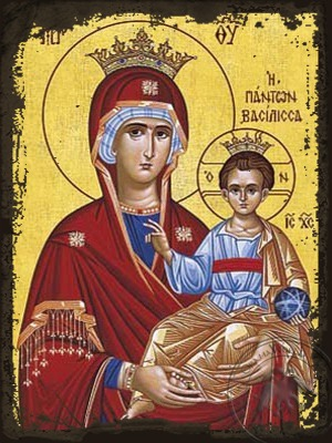 Virgin and Child Hodegetria Queen of All - Aged Byzantine Icon