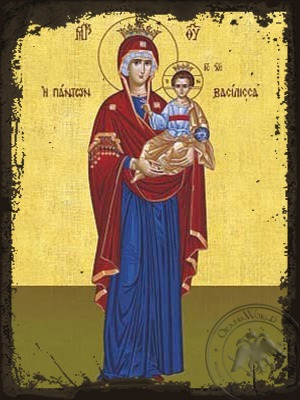 Virgin and Child Hodegetria Queen of All Full Body - Aged Byzantine Icon