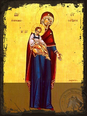 Virgin and Child Saviour of the World Full Body - Aged Byzantine Icon