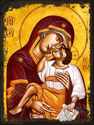 Virgin and Child Sweet Kissing - Aged Byzantine Icon