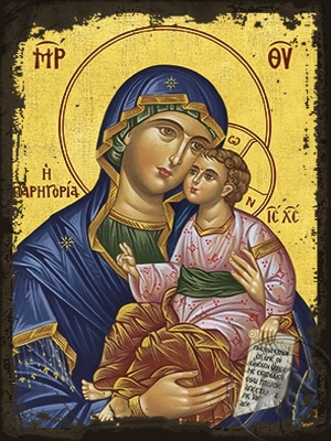 Virgin and Child Sweet Kissing Consolation - Aged Byzantine Icon