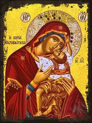 Virgin and Child Sweet Kissing Kardiotissa Chozoviotissa Amorgos Greece - Aged Byzantine Icon