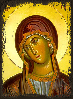 Virgin, Bust (from the Annunciation) - Aged Byzantine Icon