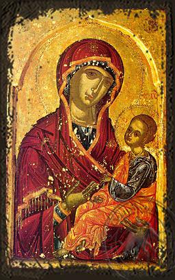 Panagia Joy of those who Grieve - Aged Byzantine Icon